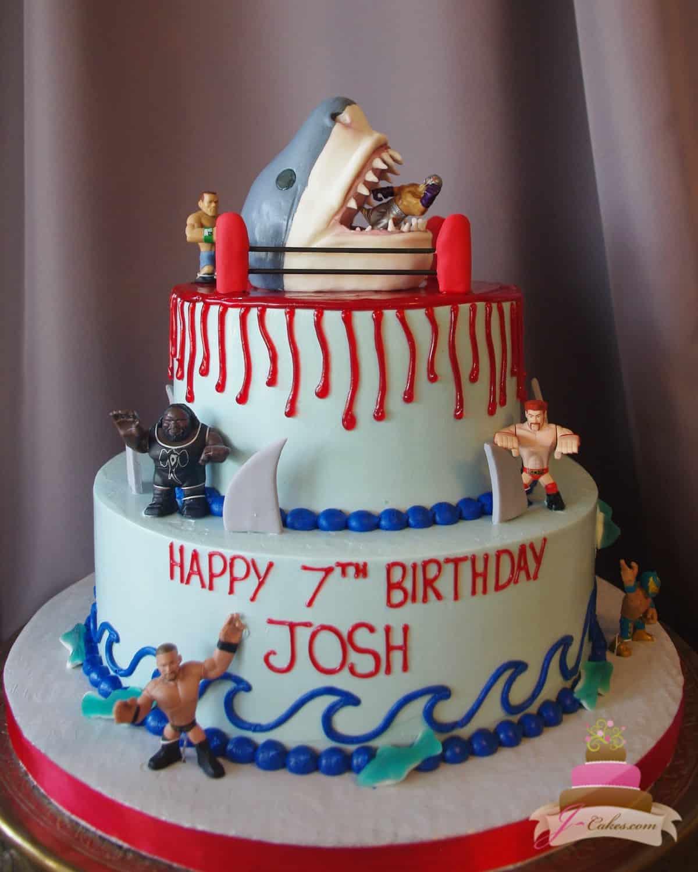 (512) Sharks vs. Wrestlers Theme Cake