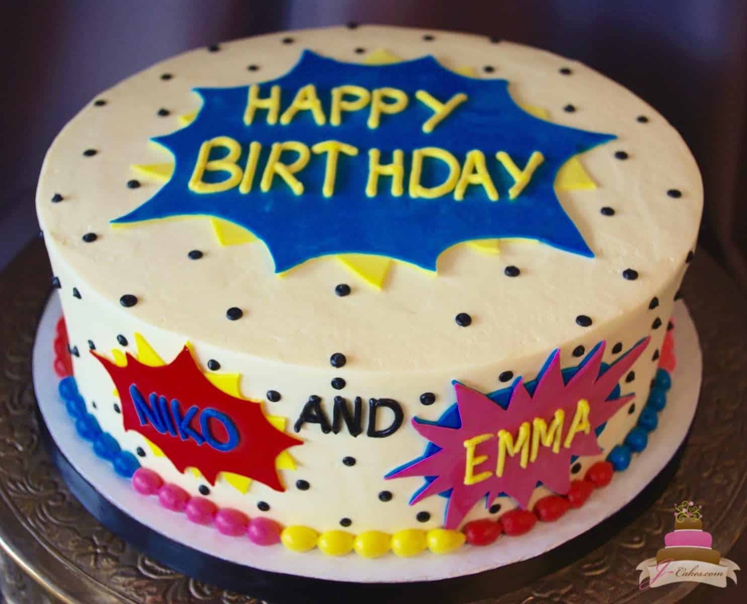 (524) Comic Book Theme Cake