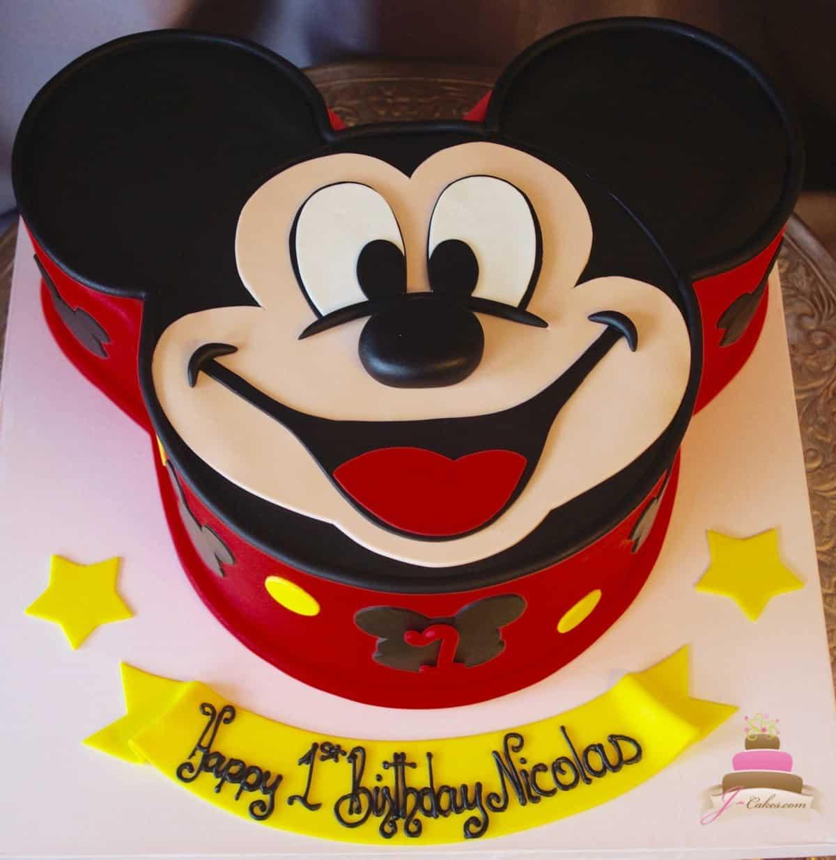 (526) Mickey Face Shaped Cake