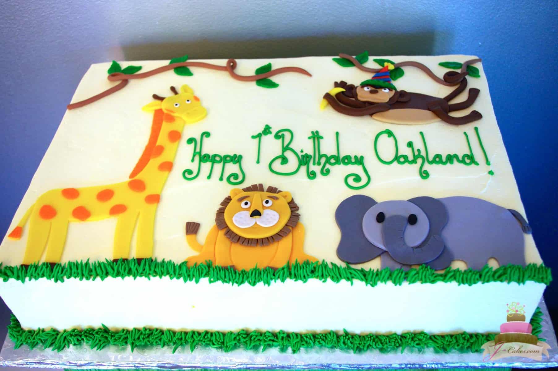 (485) Zoo Animal Theme Sheet Cake