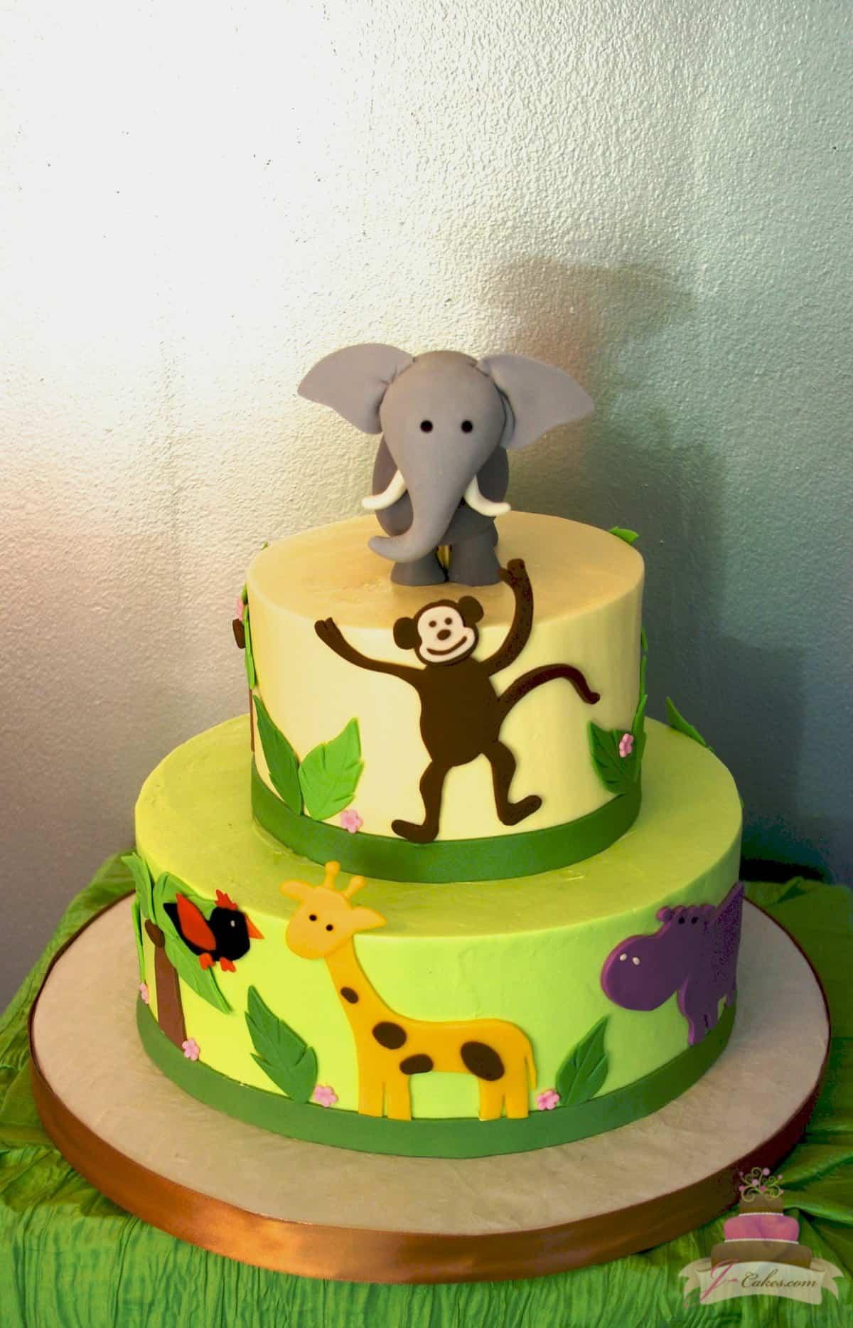 (484) Zoo Animal Theme Cake