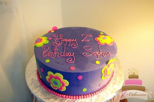 (420) Fondant Flower Birthday Cake