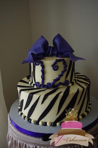 (427) Zebra Print Birthday Cake