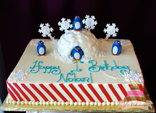(446) Penguin Birthday Cake