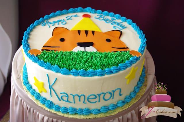 (457) Baby Tiger Birthday Cake