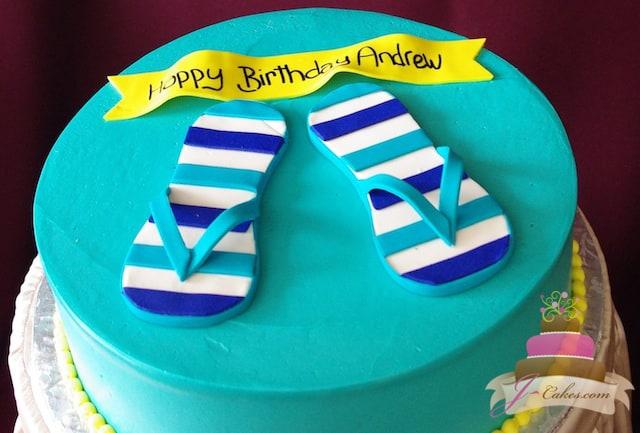 (465) Flip-Flop Birthday Cake