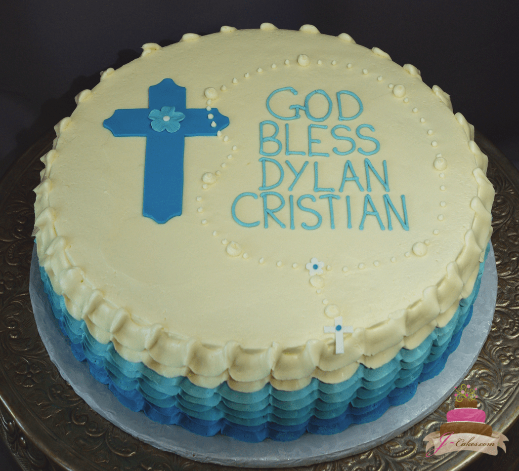(2019) Blue Ombre Ruffle Rosary Cake