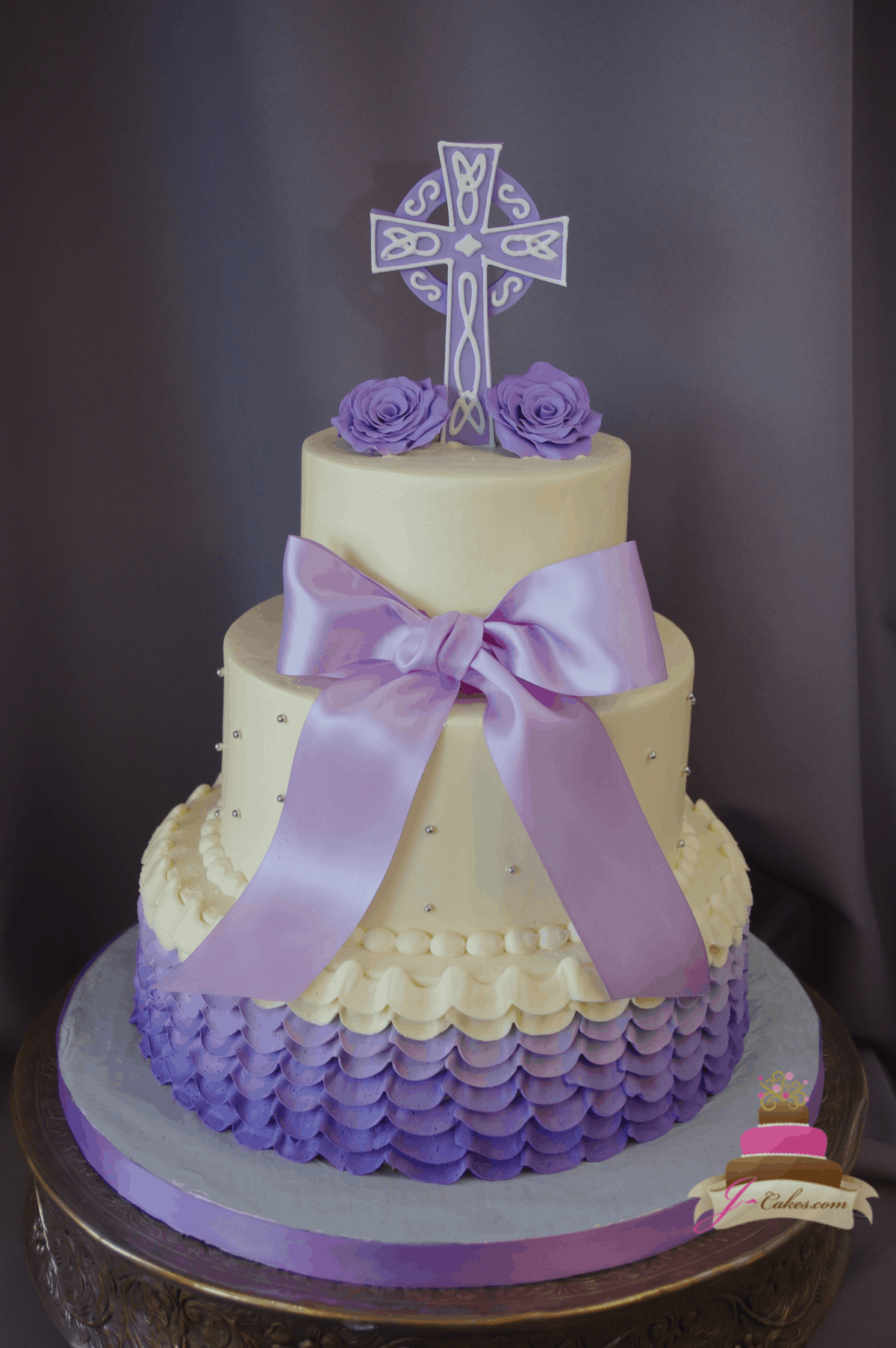 (2021) Purple Ombre Ruffle Tiered Cake