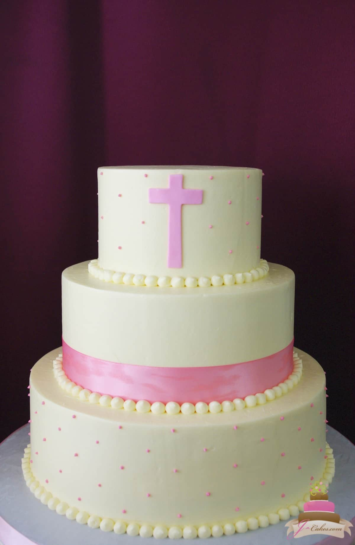 (2014) Communion Cake with Dots and Ribbon