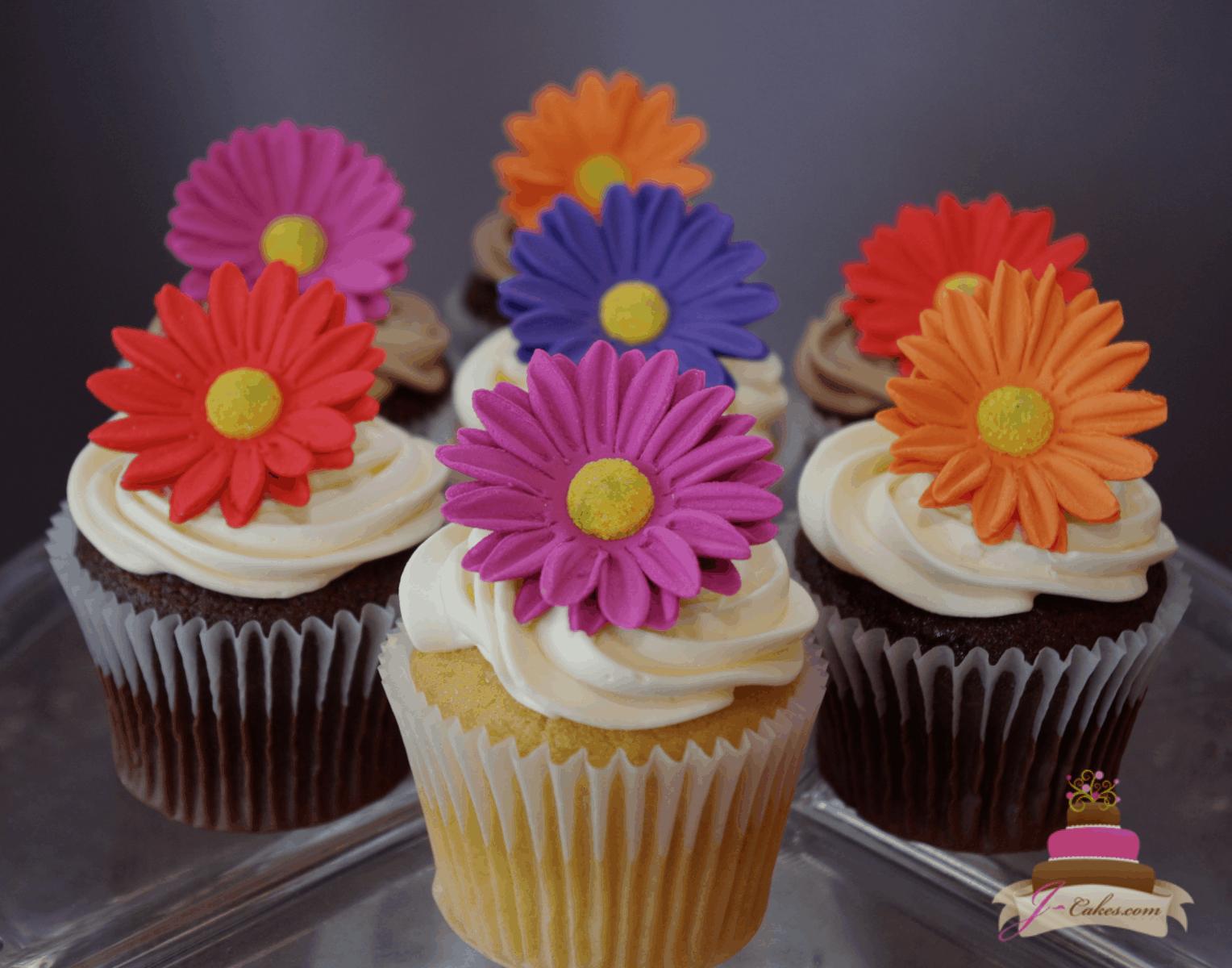 (651) Gerbera Daisy Cupcakes