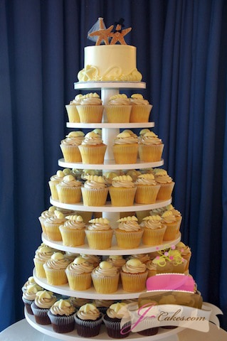 (622) Round Wooden Cupcake Tower with White Chocolate Seashells