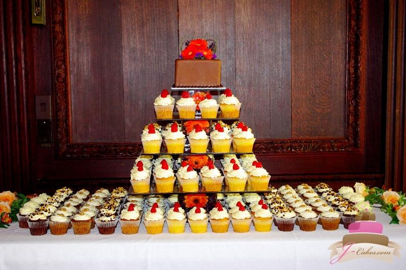 (625) Square Vase Cupcake Tower with Gerbera Daisies
