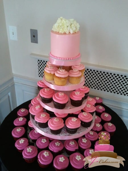(632) Pink Ombre Cupcake Tower