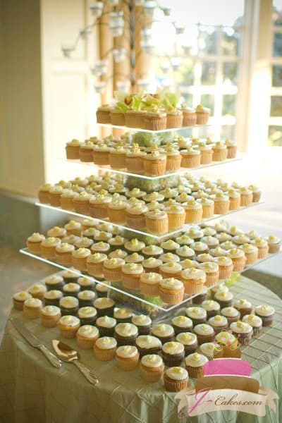 (633) Buttercream Rosebud Square Cupcake Tower