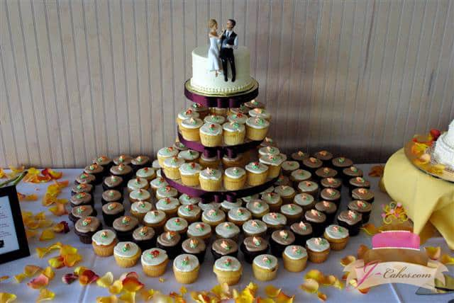 (634) Buttercream Rosebud Autumn Cupcake Tower