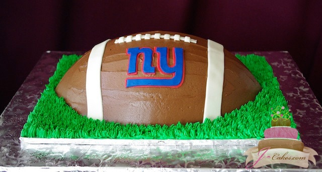 (718) NY Giants Football-Shaped Cake