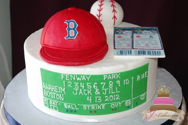 714 Boston Red Sox Theme Grooms Cake