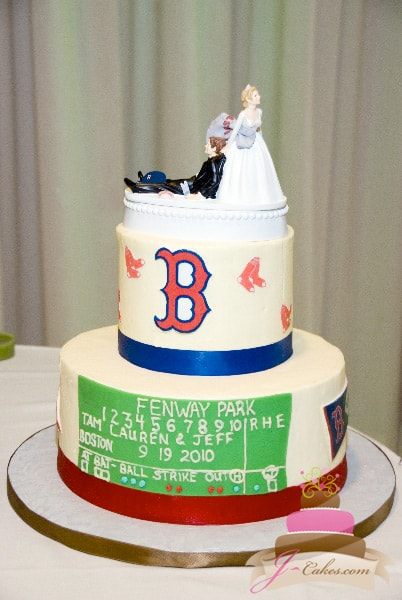 722 Boston Red Sox Tiered Grooms Cake