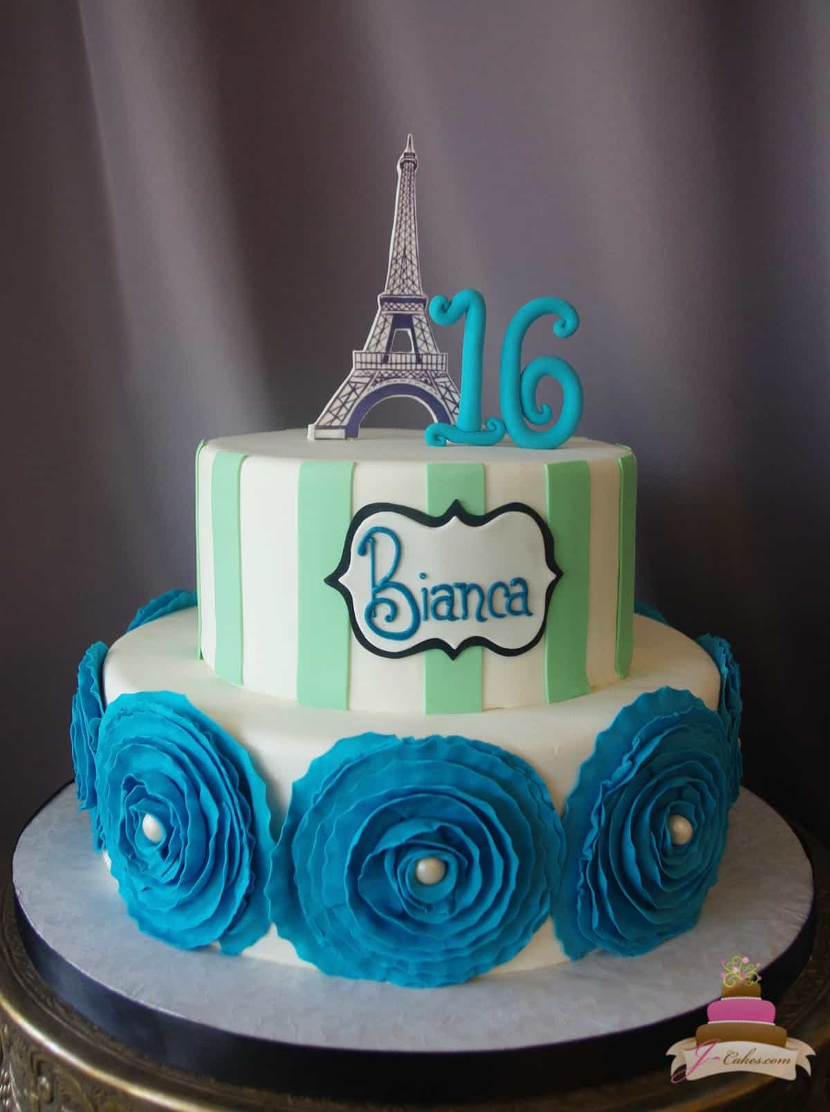 (926) Paris Theme Sweet 16 Cake