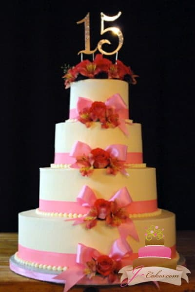 (905) Quinceañera Cake with Pink Bows