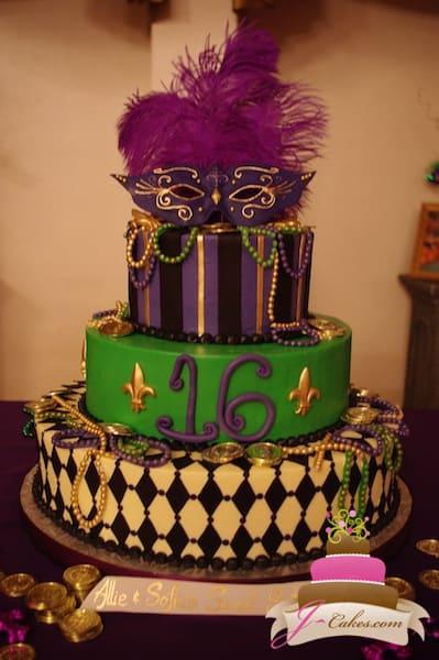 (911) Mardi Gras Sweet 16 Cake