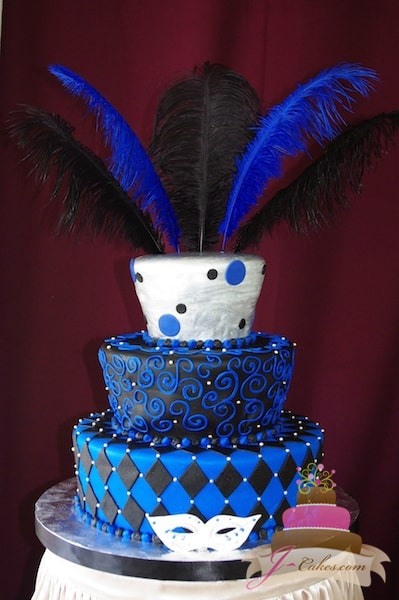 (916) Tapered Blue, Black, and Silver Masquerade Sweet 16 Cake