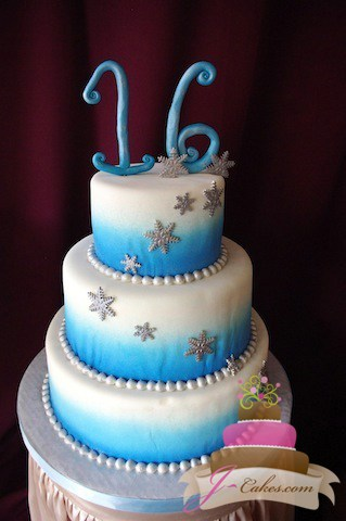(917) Winter Theme Sweet 16 Cake