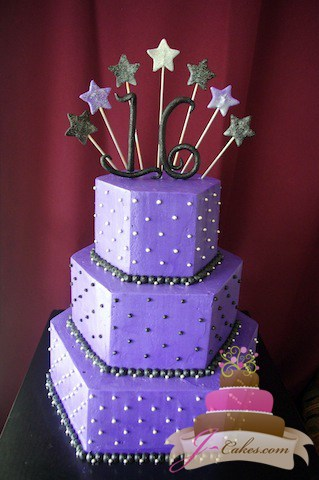 (919) Hexagonal Sweet 16 Cake