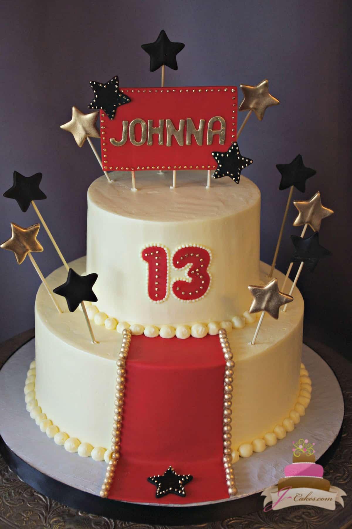 (925) Hollywood Theme Bat Mitzvah Cake