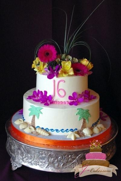 (904) Beach Theme Sweet 16 Cake