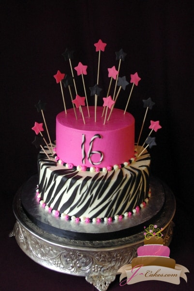 (906) Pink, Black, and White Zebra Stripe Sweet 16 Cake