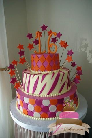 (913) Pink and Orange Sweet 16 Cake