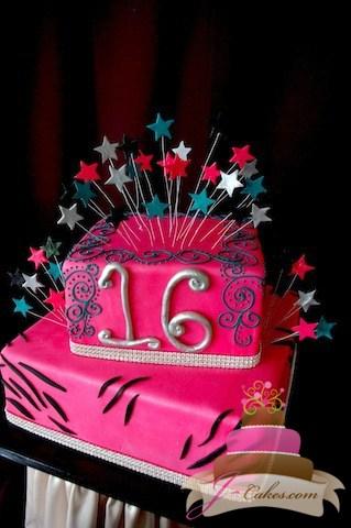 (918) Scrolls and Rhinestone Sweet 16 Cake