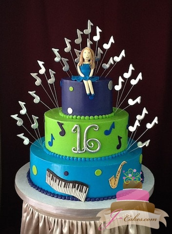 (923) Music Theme Sweet 16 Cake