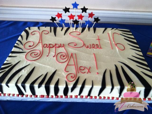 (924) Zebra Print Sweet 16 Sheet Cake