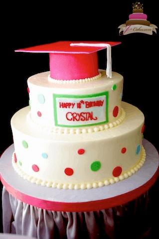 (824) Polka Dot Grad Cap Cake