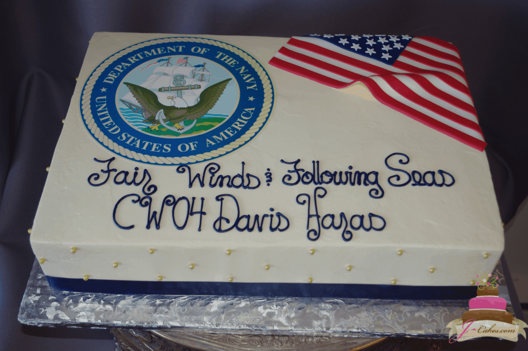 (845) Navy Theme Cake