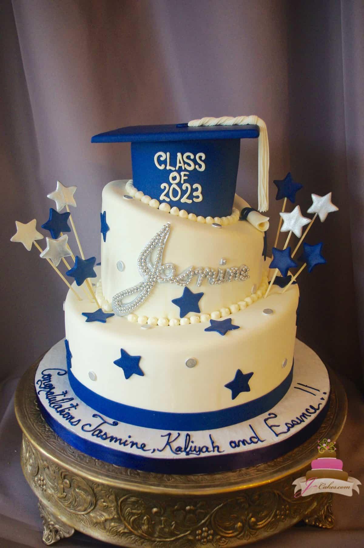 (842) Topsy Turvy Graduation Cake