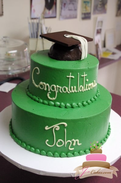 (813) Tiered Graduation Cake with Truffle Grad Cap