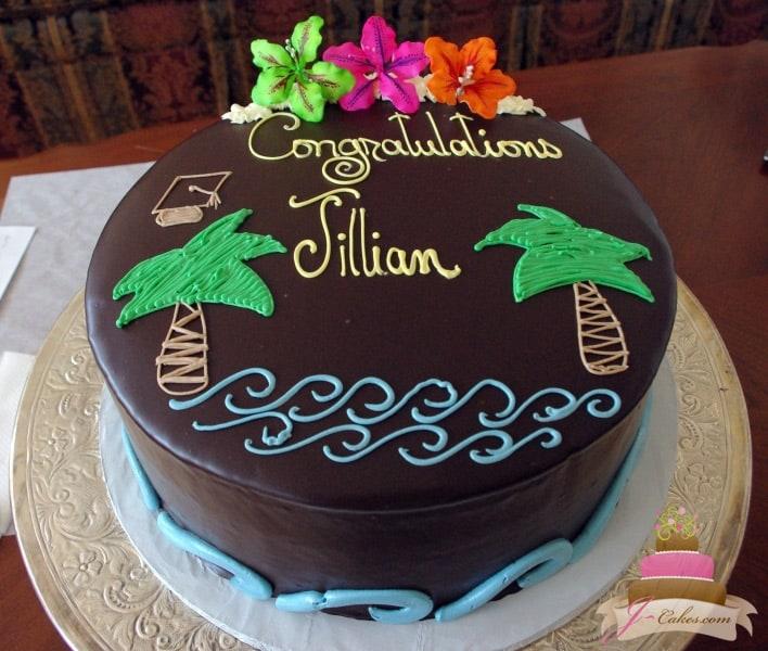 (814) Beach Theme Graduation Cake