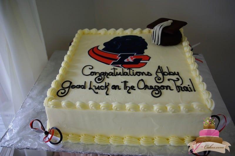 (816) Graduation Cake with School Logo