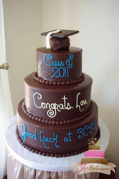 (818) Tiered Ganache Graduation Cake