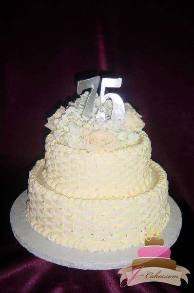 (801) Basketweave 75th Anniversary Cake
