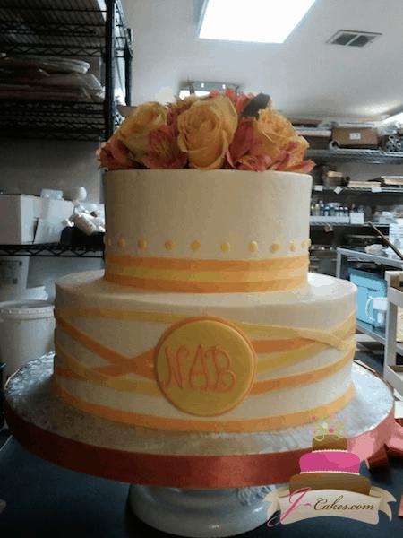 (834) Criss Cross Ribbon Anniversary Cake