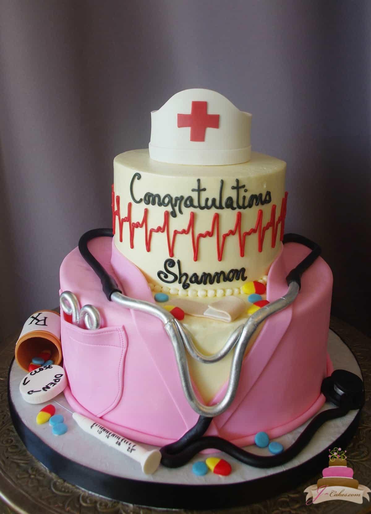 (841) Tiered Nursing Graduation Cake