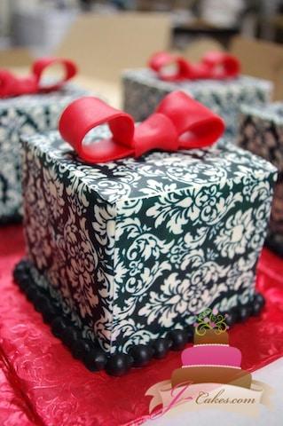 (820) Damask Gift Box Cake