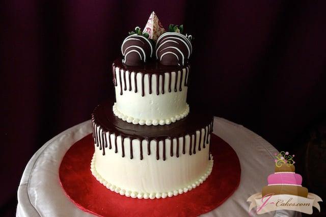 (821) Ganache Drip Anniversary Cake
