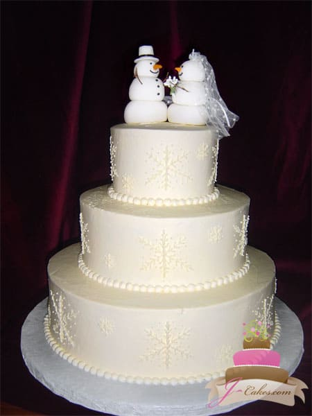 (1143) Winter Wedding Cake with Snow-People Topper