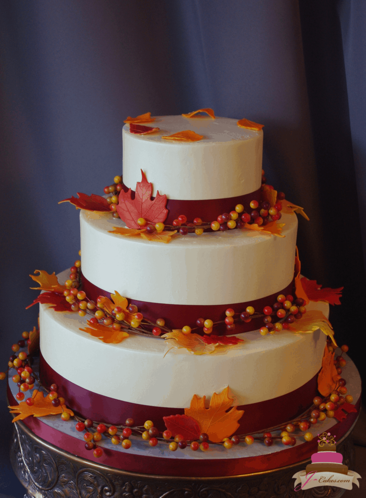 (1167) Autumn Wedding Cake with Sugar Leaves and Faux Berries