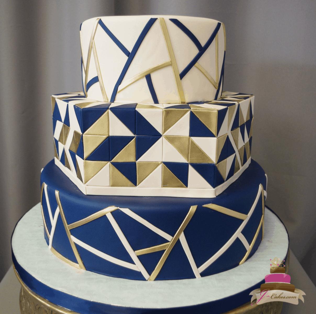 (1171) Geometric Fondant Wedding Cake